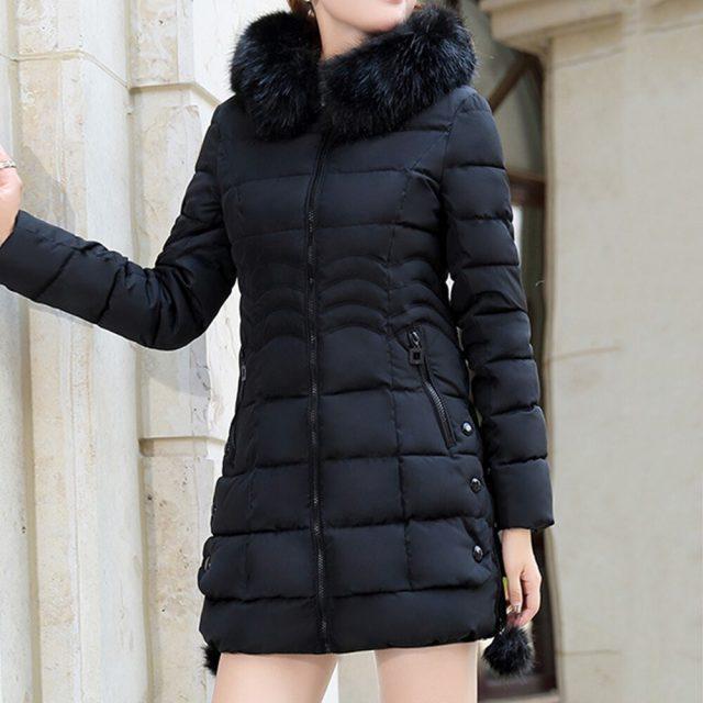 Big Fur Winter Thickened Parka Plush Coat Women Solid Slim Long Winter Cotton Coats Ladies Down Parkas Jackets Women 2019