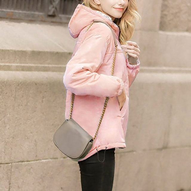 Winter Coat Women Solid Loose Hooded Jackets Short Outfit Thick Outerwear Coat
