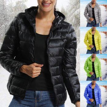 Winter Women Short Parka Warm Slim Short Padded Cotton Jacket with Pocket Hooded Coats Solid Lightweight Down Jacket 2019