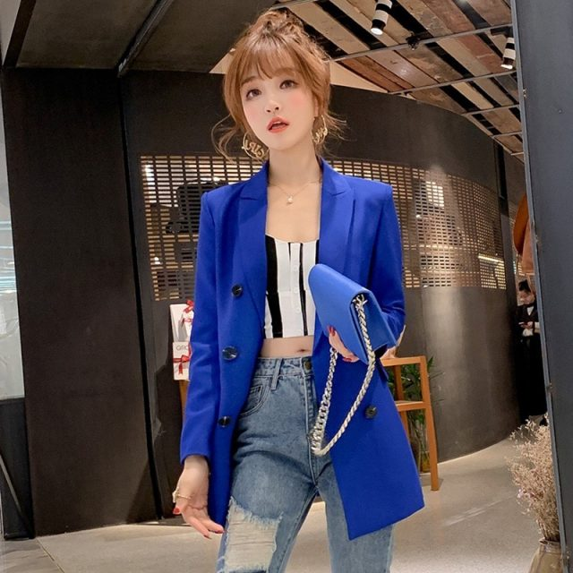 Ladies Blazer Long Sleeve Blaser Women Suit jacket Female Feminine Blazer Femme Pink Blue White Black Blazer Autumn