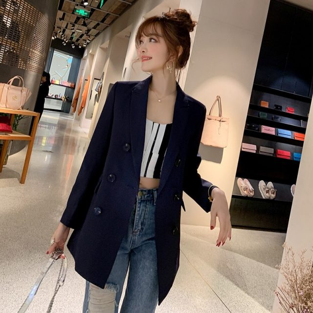 Ladies Blazer Long Sleeve Blaser Women Suit jacket Female Feminine Blazer Femme Pink Blue White Black Blazer Autumn