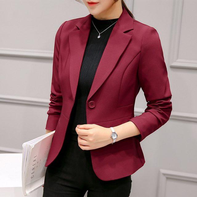 Black Women Blazer 2019 Formal Blazers Lady Office Work Suit Pockets Jackets Coat Slim Black Women Blazer Femme Jackets