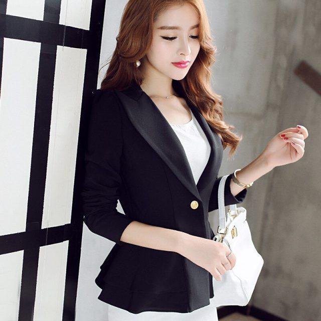 Brand Spring Autumn Slim Fit Women Formal Jackets Office Work Suit Open Front Notched Ladies Solid Black Coat Top Blazers Jacket