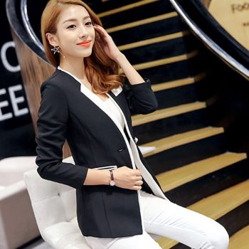 2019 New Autumn and Winter Korean women's small suit jacket temperament long sleeve stitching suits Blazer women Plus size S-XXL