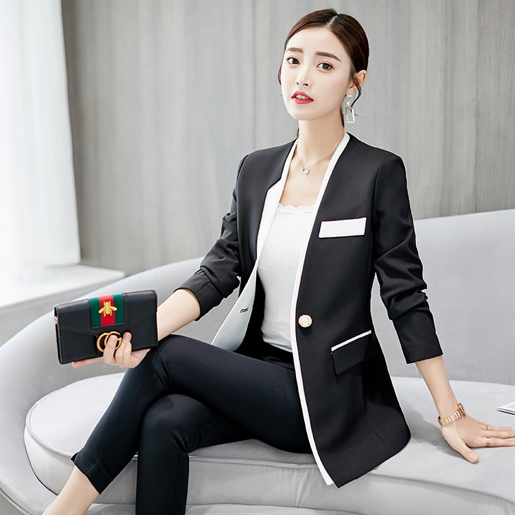 New Fashion Solid Color Office Ladies Plaid Blazer Long Sleeve Loose Houndstooth Suit Coat Jacket Women blazers Female Outerwear