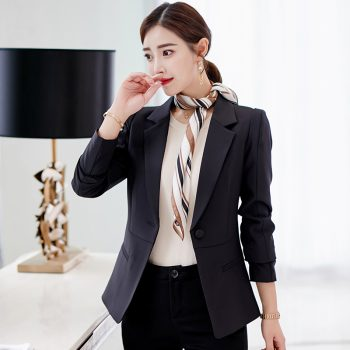 Spring Autumn Blazer Women 2019 New Casual Green fruit collar is divided Suit ladies Jackets Elegant Long Sleeve Blazer Outerwea