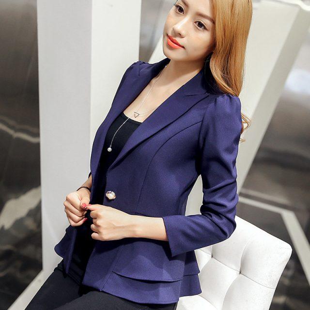2019 Autumn And Winter New Women's Blazer Single Button Korean Women Ruffled Long-sleeved Slim Small Suit Jacket Plus Size S-xxl