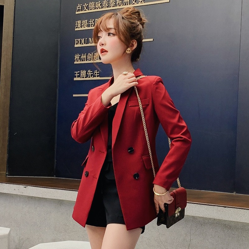 2019 Spring And Autumn Women's Korean Small West Slim Long Sleeve Solid Jacket Suit Single Button Office Lady Women Blazer S-xxl