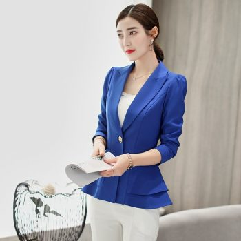 Samgpilee 2019 Spring Autumn Slim Fit Women Formal Jackets Office Work Open Front Notched Ladies Blazer Coat Hot Sale Fashion