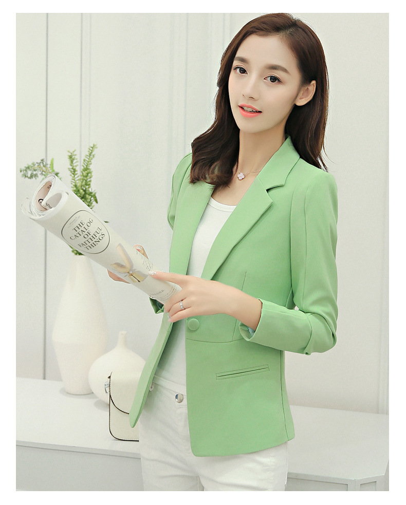 Samgpilee 2019 Spring And Autumn New Korean Version Single Button Female Slim Solid Office Lady Women Jacket Small Suit  S-xxl