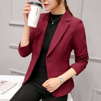 2019 Women's Blazer Pink Long Sleeve Blazers Solid One Button Slim Office Lady Jacket Female Tops Suit Blazer Femme Jackets