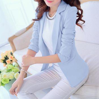 Casual Long Sleeve Jacket blazer feminino Turn-down Collar Coat Lady Jacket Suit Formal Coat Slim OL Women blazers Female
