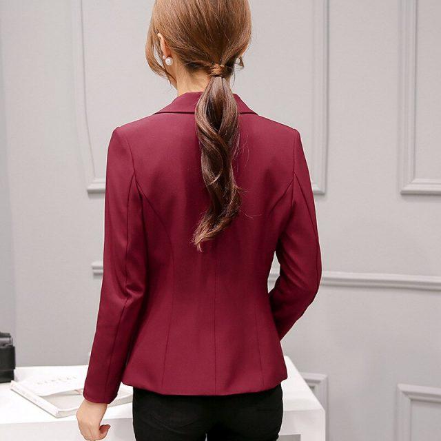 2019 Women's Blazer Pink Long Sleeve Blazers Solid One Button Coat Slim Office Lady Jacket Female Tops Suit Blazer Femme Jackets