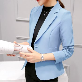 2019 Women's Blazer Pink Long Sleeve Blazers Solid One Button Coat Slim Office Lady Jacket Female Tops Suit Blazer Femme Jackets
