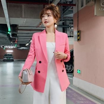 Vintage Single Breasted Office Ladies Blazer 2019 Long Sleeve Loose Suit Coat Jacket Women Blazers Female