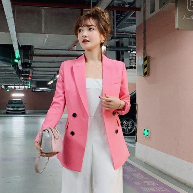 Vintage Single Breasted Office Ladies Blazer 2019 Long Sleeve Loose Suit Coat Jacket Women Blazers Female