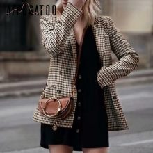 Affogatoo Fashion double breasted plaid blazer women Long sleeve slim OL blazer 2018 Casual autumn jacket blazer female