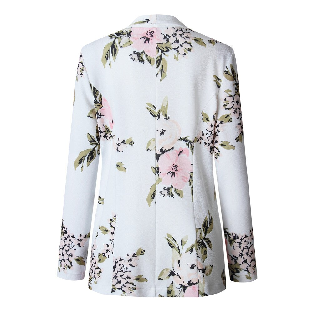 Elegant Blazer Feminino Women Floral Long Sleeve Blazer Notched Collar Coat Female Outerwear