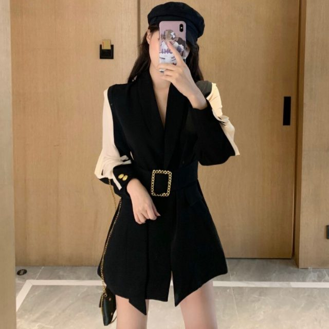 Women Chic Hit Color Blazer Elegant Sashes Tops Long Style Double Breasted Long Sleeve Slim Coat Female Casual Outerwear