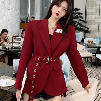 Women Blazers and Jackets Red Korean Women's Blazer Long Suit Jacket Black Blazer Female Cape Long Sleeve Womens Suit 2019