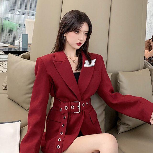 Women Blazers and Jackets Red Korean Women's Blazer Long Suit Jacket Black Blazer Female Cape Long Sleeve Womens Suit 2019
