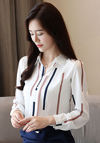 Fashion woman blouses spring long sleeve women shirts striped blouse shirt office work wear womens tops and blouses 0973 60