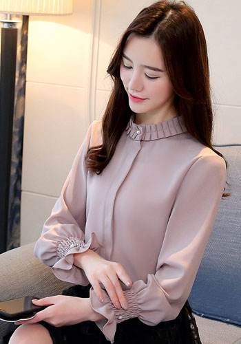 Fashion Woman Blouses Chiffon Blouse Shirt Long Sleeve Solid Stnad Collar OL Blouse Women Tops Blusa Feminina Shirt 1016 40