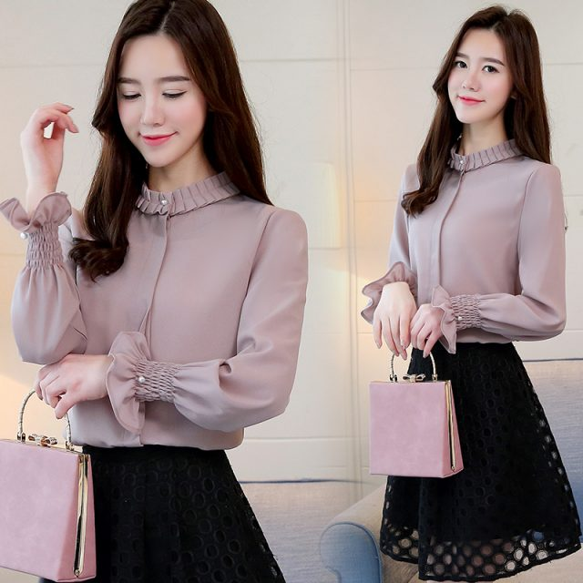 Fashion Woman Blouses Chiffon Blouse Shirt Long Sleeve Solid Stnad Collar OL Blouse Women Tops Blusa Feminina Shirt 1016 40