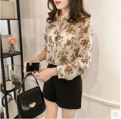 Fashion Woman Blouses Long Sleeve Print Chiffon Blouse Shirt Plus Size 3XL 4XL OL Blouse Women Blusa Feminina Shirt 1058 40