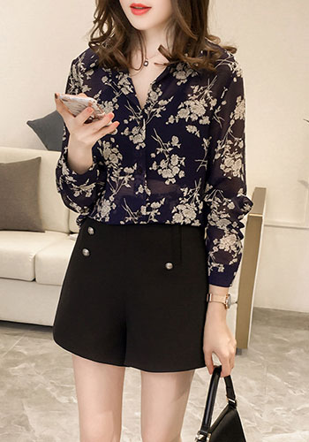 Fashion Woman Blouses Long Sleeve Print Chiffon Blouse Shirt Plus Size 3XL 4XL OL Blouse Women Blusa Feminina Shirt 1058 40