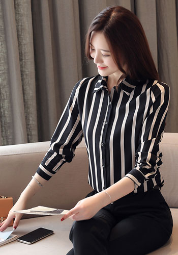New Arrival plus size Women Tops and Blouses Fall Long Sleeve Striped Cardigan Chiffon Blouse Women Office Lady Clothes 5983 50