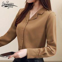 Fashion womens tops and blouses suit collar office blouse women tops long sleeve women shirts elegant women blouse shirt 1739 50