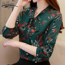 Fashion women blouses spring print green chiffon blouse shirt office work wear blouse womens tops and blouses blusa 1780 50