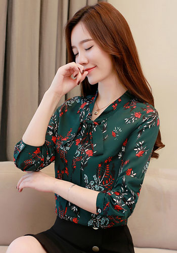 Fashion women blouses spring print green chiffon blouse shirt office work wear blouse womens tops and blouses blusa 1780 50