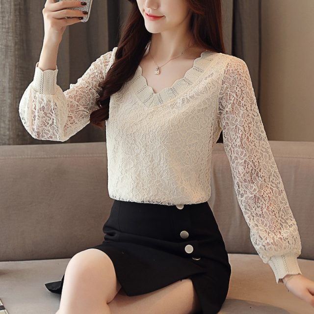 New Fashion Elegant Casual Women Blouse Solid Women Tops Lace Long Sleeve V-neck Women Clothing Autumn Korean Style 5958 50