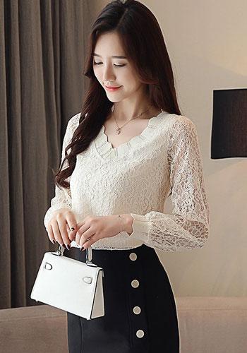 New Fashion Elegant Casual Women Blouse Solid Women Tops Lace Long Sleeve V-neck Women Clothing Autumn Korean Style 5958 50