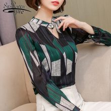 Fashion print chiffon blouse women shirt long sleeve plus size women tops stripe OL blouse women's clothing blusas 0092 30