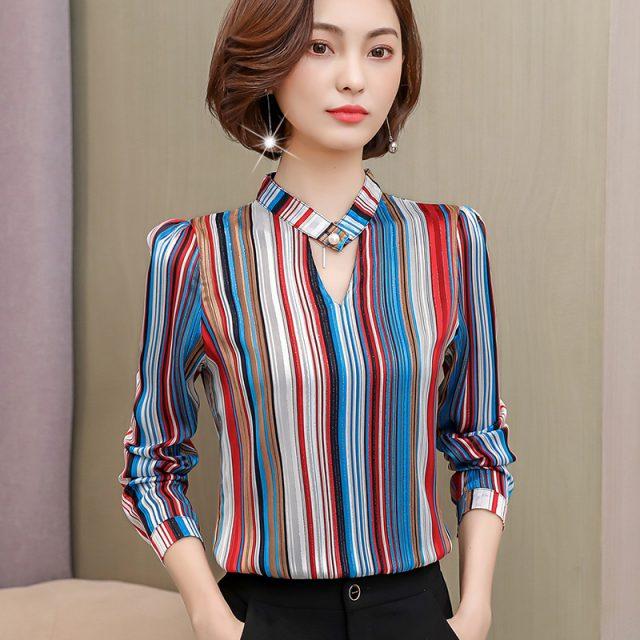 Fashion print chiffon blouse women shirt long sleeve plus size women tops stripe OL blouse women's clothing blusas 0092 30
