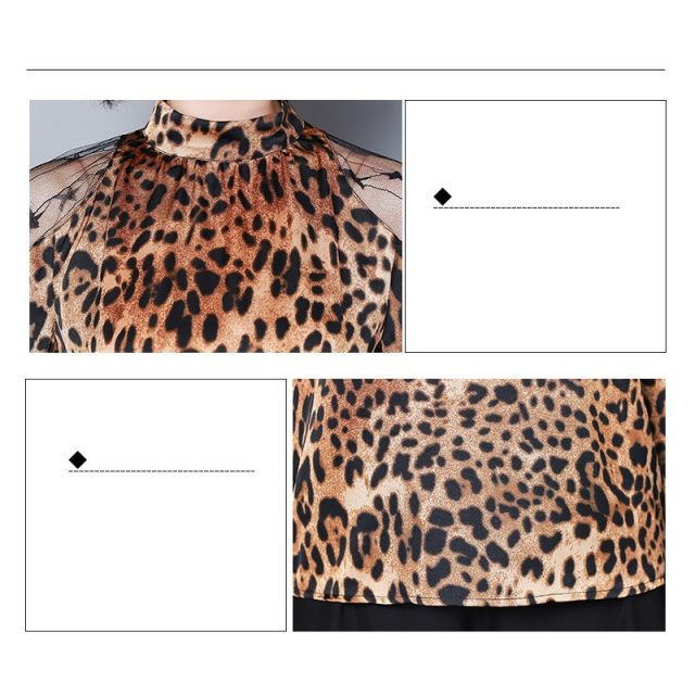 Fashion womens tops and blouses sexy lace off shoulder top Leopard print chiffon blouse shirt long sleeve women shirts 2656 50