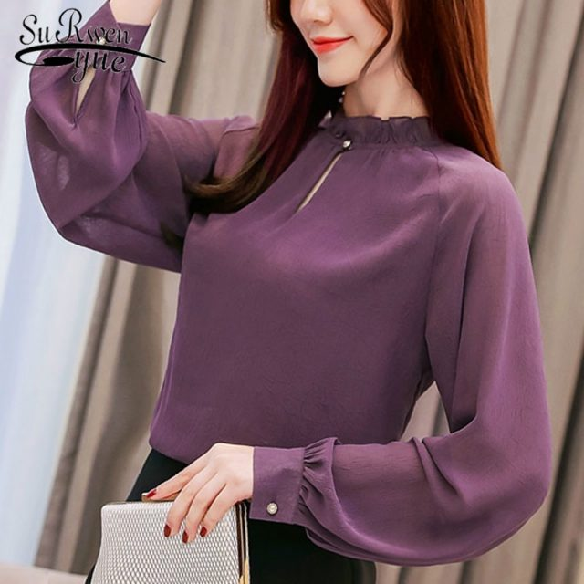 Womens tops and blouses spring solid women blouse shirt tops long sleeve women shirts fashion women blouses blusas 1854 50