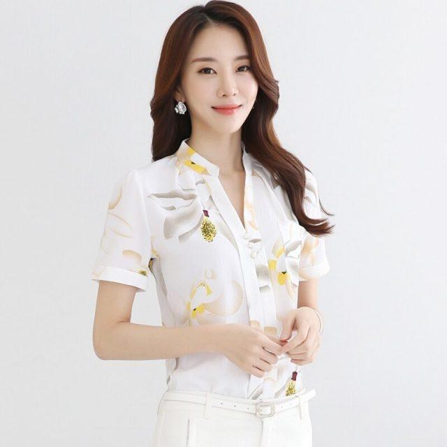 Fashion office lady shirt short sleeve print Chiffon women shirts blouses plus size V-neck feminine tops blusas 894i 30