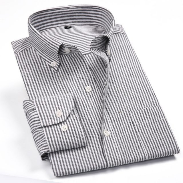 Men's Striped Oxford Spinning Casual Long Sleeve Shirt Blue Comfortable breathable Collar Button Design 2019 Spring Autumn New