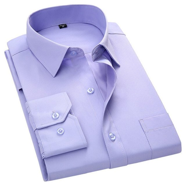 Men's Business Casual Long Sleeve Slim Fit Shirt Twill Solid Color Male Social Shirt Black Blue White Purple Green Pink 4XL