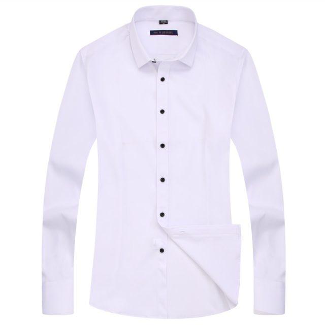 Elasticity Slim Fit Men Dress Casual Long Sleeved Shirt White Black Blue Red Male Social Formal Shirt Classic Solid Color Design