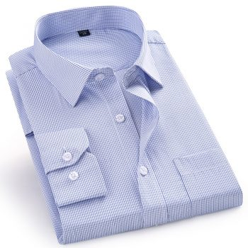 High Quality Men Dress Casual Plaid Stripe Long Sleeved Shirt Male Regular Fit Blue Purple 4XL 5XL 6XL 7XL 8XL Plus Size Shirts