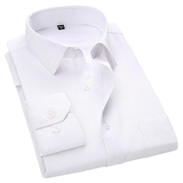 Men Dress Long Sleeve Shirt Brand New Fashion Designer High Quality Solid Male Clothing Fit Business Shirts White Blue Black 4XL