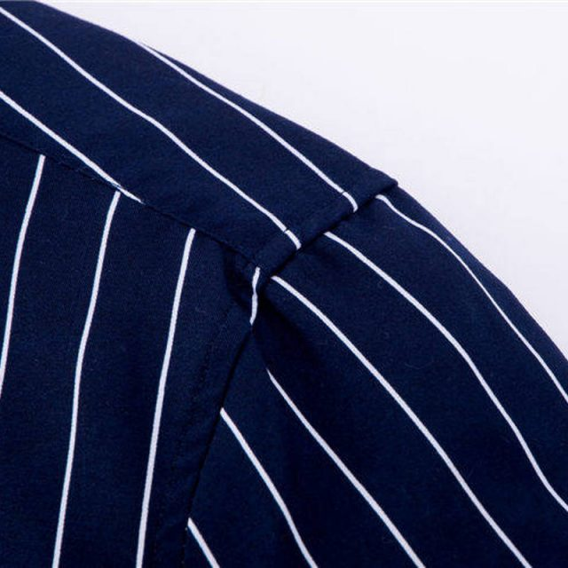 High Quality Mens Business Casual Long Sleeved Men Button Shirt Classic Striped Slim Fit Male Social Men's Dress Shirts Outwear