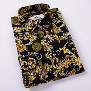 Hot Sale Size: M-5XL / 2019 New Fashion Floral Print Slim Fit Shirts Men's Long Sleeve Casual Dress Shirts 11 Colors