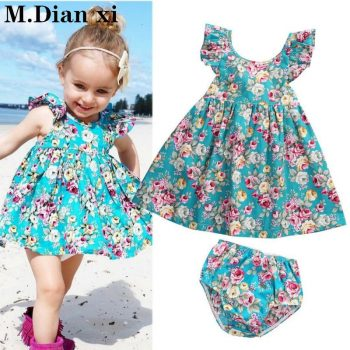 2018 Lovely Summer Infant Baby Girl Ruffle Floral Dress Sundress Briefs Outfits Clothes Set