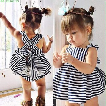 0-24M Newborn Baby Girls Clothes Infant Kids Summer Striped Dress Top + Briefs 2pcs Outfit Toddler Kids Clothing Set